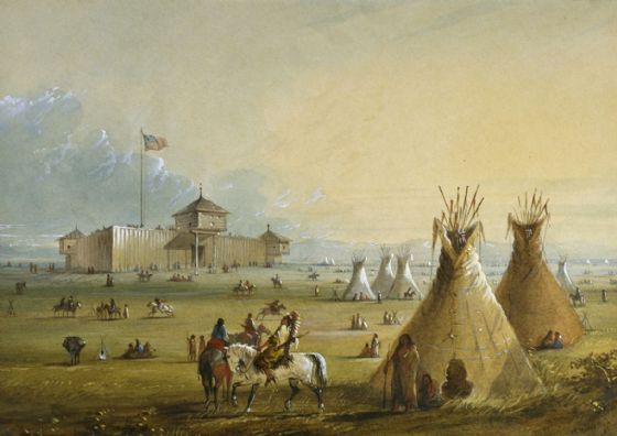 Miller, Alfred Jacob: Fort Laramie. Fine Art Print/Poster. Sizes: A4/A3/A2/A1 (003827)